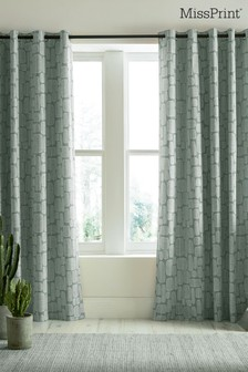 MissPrint Little Trees Lined Eyelet Curtains