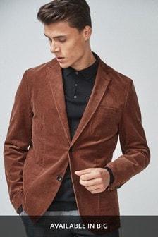 Rust Slim Fit Cord Blazer