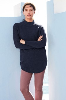 Navy  Button Detail Tunic