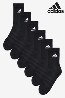 adidas Adult Black Crew Socks Six Pack