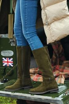 Khaki Green Signature Knee High Buckle Boots