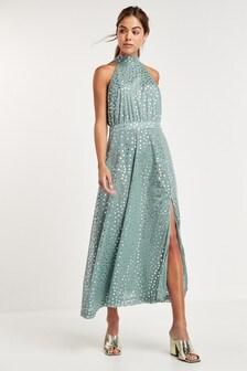 Mint Halterneck Spot Dress