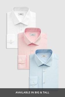 Blue/Pink/White Regular Fit Single Cuff Shirts Three Pack
