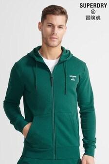 Superdry Sport Green Training Sport Zip Hoodie