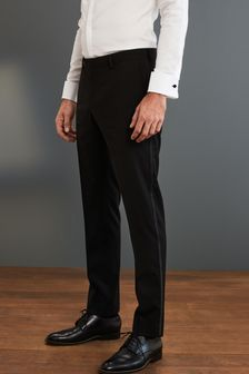 Black Regular Fit Signature Tuxedo Suit: Trousers