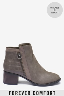Grey Forever Comfort® Block Heel Ankle Boots