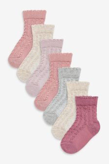 Pink Cable Knit 7 Pack Socks (Younger)