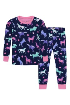 Girls Organic Cotton Navy Pyjama Set