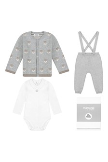 Baby Boys Grey Cotton Three Piece Set