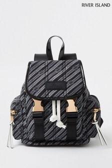 River Island Black Casual Backpack