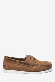 Tan Nubuck Leather Boat Shoes