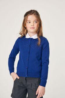 Blue Pointelle Detail Cardigan (3-16yrs)