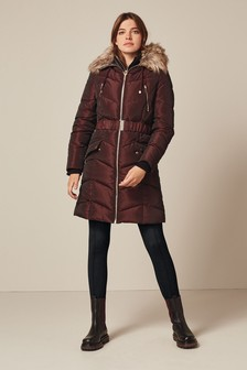 Berry Belted Double Layer Padded Jacket