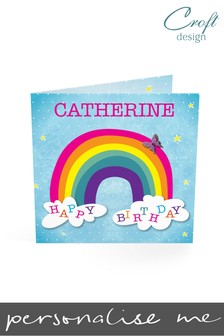 Personalised Rainbow Birthday Single Card by Croft Designs