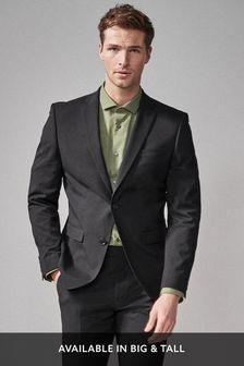 Black Slim Fit Stretch Tonic Suit: Jacket