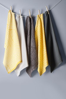 5 Pack Ochre Geo Tea Towels