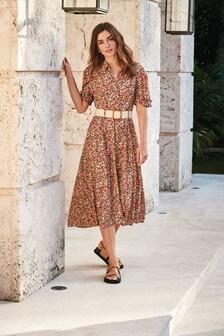 Rust Floral Belted Shirt Dress