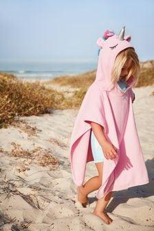 Pink Unicorn Towelling Poncho