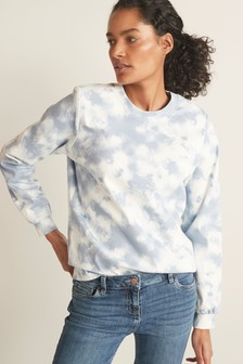 Blue Tie Dye Jersey Denim Sweatshirt