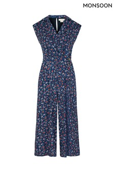 Monsoon Blue Dione Ditsy D-Ring Jumpsuit