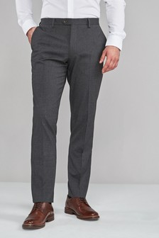 Charcoal Regular Fit Textured Trousers