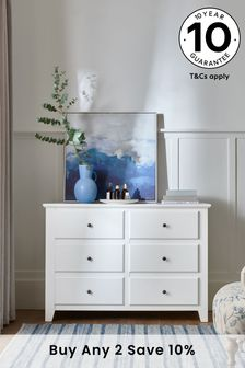 White Ashington 6 Drawer Wide Chest