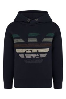 Boys Navy Embroidered Logo Hooded Sweater