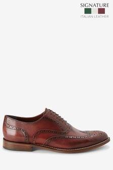Burgundy Signature Italian Leather Wing Cap Brogues