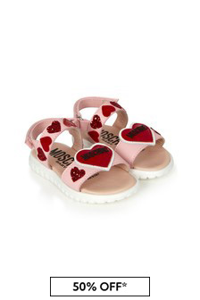 Girls Pink Leather Sandals