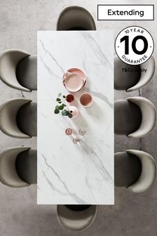 Malvern Dove Grey & Marble Effect 6 to 8 Extending Dining Table