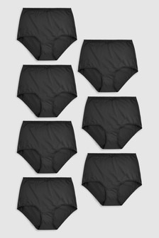 Black Full Brief Microfibre Knickers Seven Pack