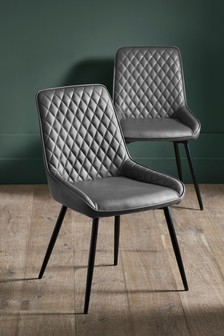 Faux Leather French Dark Grey Set of 2 Hamilton Dining Chairs with Black Legs