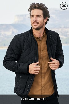 Black Shower Resistant Diamond Quilted Funnel Neck Jacket