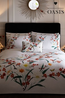 Oasis Oska Floral Cotton Duvet Cover and Pillowcase Set