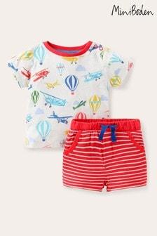 Boden Ivory Jersey Printed Shorts Set