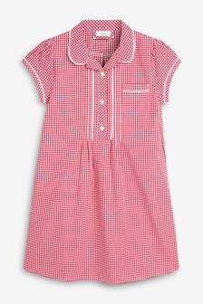 Red Button Front Lace Gingham Dress (3-16yrs)
