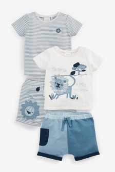 White/Blue 4 Piece Organic Cotton Lion T-Shirts And Shorts Set (0mths-3yrs)