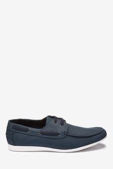 Navy Textured Boat Shoe