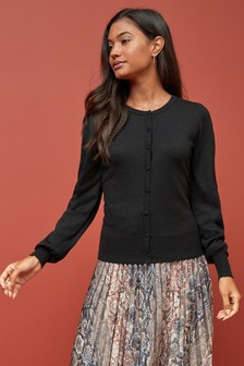 Black Volume Sleeve Cardigan