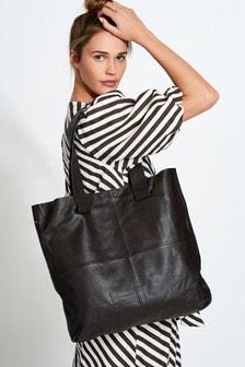 Chocolate Leather Stitch Detail Shopper Bag