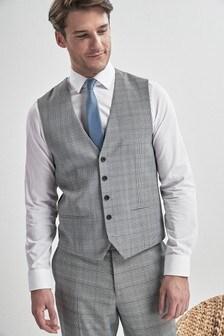 Light Grey/Blue Check Suit: Waistcoat