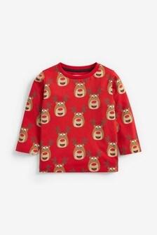 Red Long Sleeve Reindeer Print Jersey T-Shirt (3mths-7yrs)