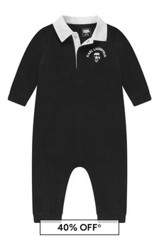 Baby Boys Black Cotton All-In-One