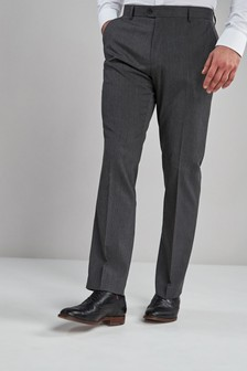 Grey Regular Fit Stretch Formal Trousers