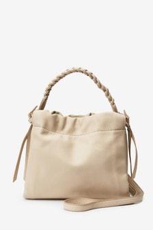 Bone Plaited Handle Bucket Bag