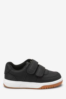 Black Double Strap Touch Fastening Shoes (Younger)