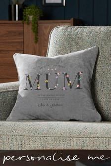 Personalised Embroidered Mum Cushion