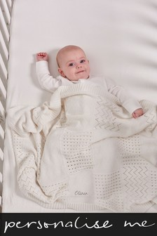 Personalised White Knit Blanket