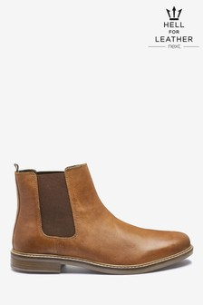 Tan Waxy Finish Leather Chelsea Boots