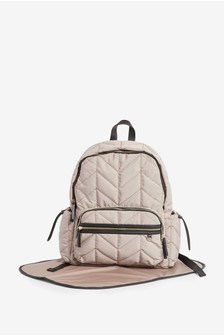 Neutral Quilted Baby Changing Rucksack